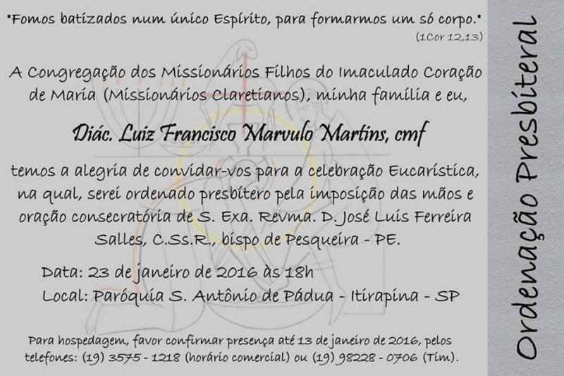 Convite da Ordena��o Sacerdotal do Di�cono Luiz Francisco Martins, cmf