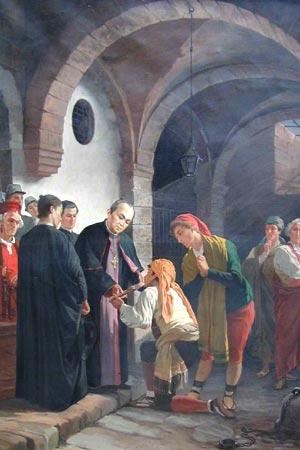 Quadro Claret atendendo os pobres, original está em Roma na Cúria Geral