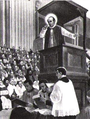 O Santo fala durante o Conc�lio Vaticano I, no dia 31 de maio de 1870. Pintura a �leo de Giovanni B. Conti. Conserva-se na C�ria Geral em Roma