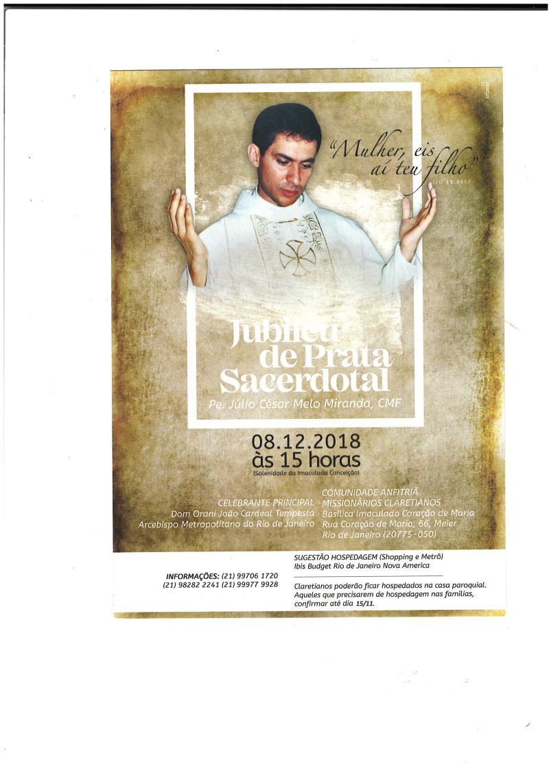 Jubileu Sacerdotal do Padre Júlio César Melo Miranda, cmf
